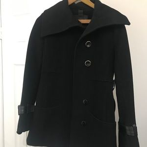 Mackage black wool pea coat with leather trim